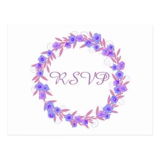 Lavanda floral RSVP de la guirnalda Postal