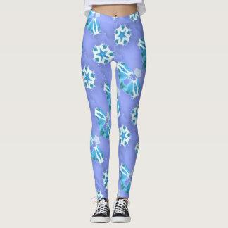 lavanda flotante de las estrellas azules leggings