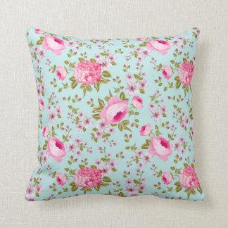 Lavanda hermosa y estampado de flores rosado cojín decorativo