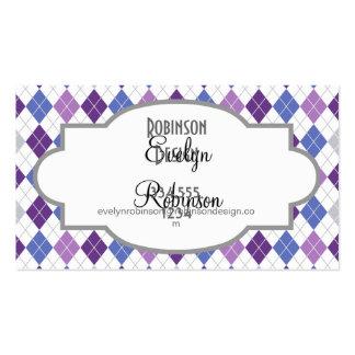 Lavanda, púrpura violeta, azul, gris, Argyle blanc Tarjetas De Visita