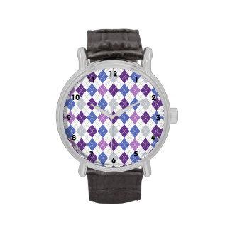 Lavanda, púrpura violeta, azul, gris, Argyle Relojes