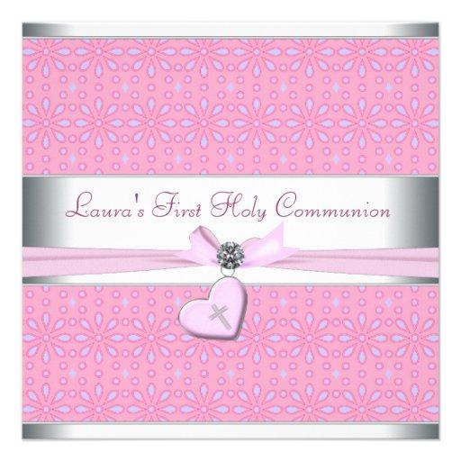 Lavanda y comunión del corazón de la cruz rosada d invitacion personal