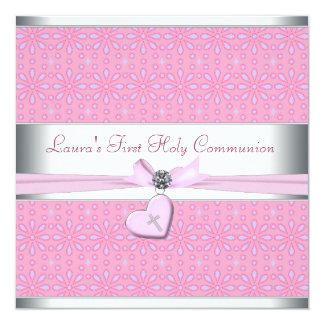 Lavanda y comunión del corazón de la cruz rosada invitación 13,3 cm x 13,3cm