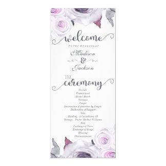 Lavanda y programa floral gris del boda de la