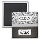 Lavaplatos limpio/sucio del damasco blanco y negro iman