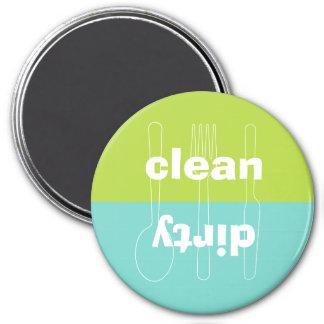 Lavaplatos limpio sucio del verde azul del utensil imán redondo 7 cm