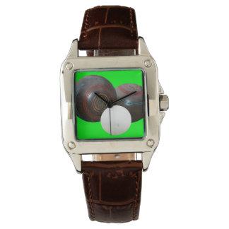 Lawn_Bowls, _Old_School_Ladies_Brown_Leather_Watch Reloj De Pulsera