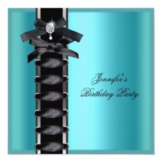 Lazo azul del corsé del diamante negro del trullo invitación 13,3 cm x 13,3cm