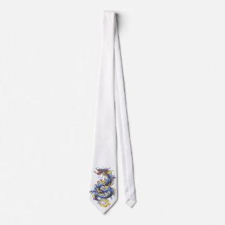 Lazo azul oriental fresco   del dragón corbata