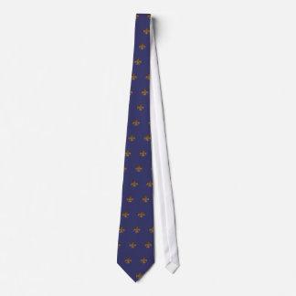 Lazo de la flor de lis/de los azules añiles corbatas personalizadas