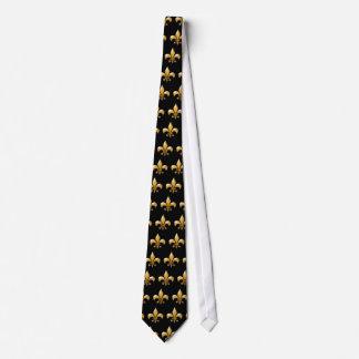 Lazo de la flor de lis en negro y oro corbatas