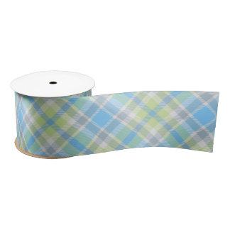 Lazo De Raso Cinta azul y verde clara de la tela escocesa