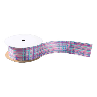 Lazo De Raso cinta púrpura rosada de la tela escocesa