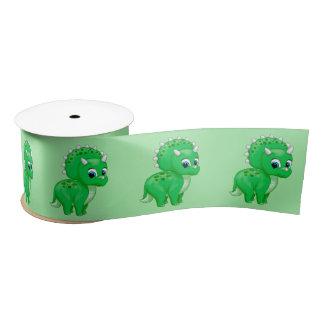 Lazo De Raso Dinosaurio verde lindo del Triceratops del bebé