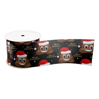 Lazo De Raso emoji del poo del navidad con la cinta del gorra
