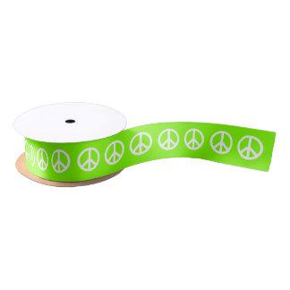 Lazo De Raso Símbolo de paz chartreuse y blanco
