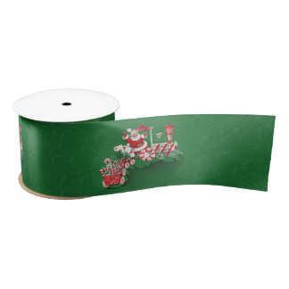Lazo De Raso Tren del caramelo de hierbabuena de Papá Noel del