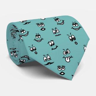Lazo divertido de las caras del dibujo animado corbata