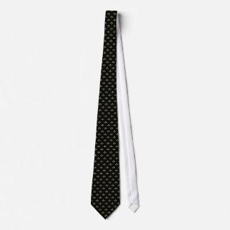 Lazo elegante de la flor de lis del negro y del or corbata