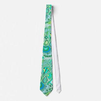 Lazo loco de Paisley en azules y verdes Corbata