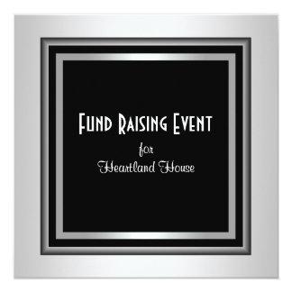 Lazo negro corporativo negro de plata Fundraising Invitación 13,3 Cm X 13,3cm
