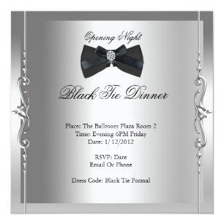 Lazo negro de la noche de la inauguración formal invitación 13,3 cm x 13,3cm