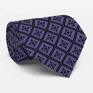 Lazo negro del diamante y violeta geométrico corbata