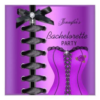 Lazo púrpura del corsé del diamante del negro del comunicado personalizado