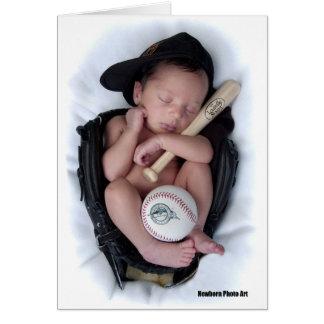 Lazo recién nacido del bebé del baloncesto tarjeta de felicitación