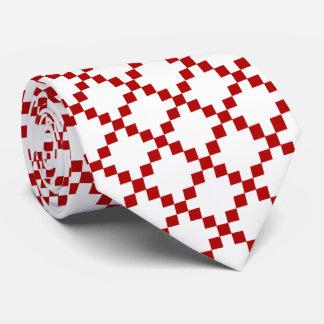 Lazo rojo del diamante y blanco geométrico corbata personalizada