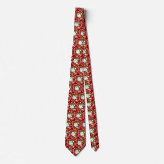 Lazo rojo retro del muñeco de nieve de la tela corbata personalizada