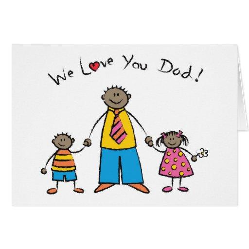 Le amamos el día de padre feliz de la familia del  tarjeton
