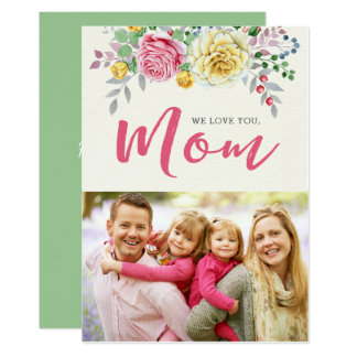 Le amamos, tarjeta plana del día de madre de la invitación 12,7 x 17,8 cm