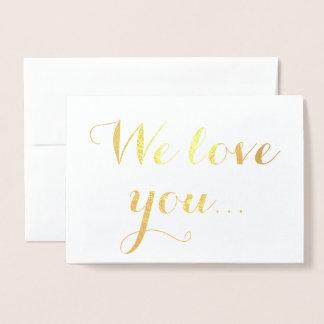 Le amamos tipografía elegante del efecto tarjeta con relieve metalizado