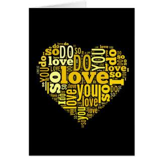 Le amo arte negro amarillo de las letras de la tarjeta