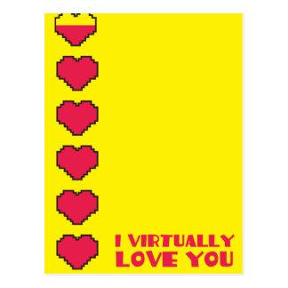 Le amo virtualmente los corazones digitales postal