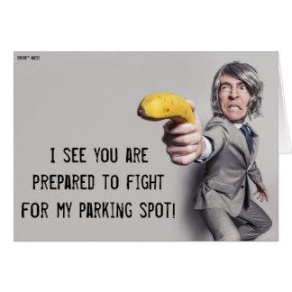 Le desafío a un duelo del plátano - nota del tarjeta de felicitación