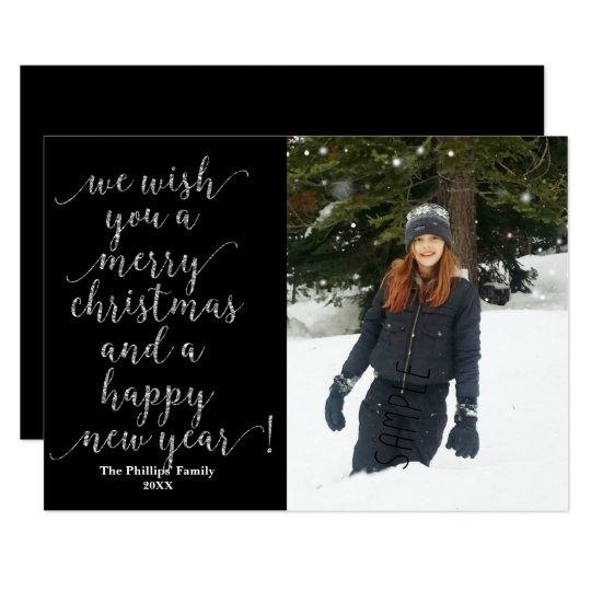 Le deseamos Felices Navidad tarjeta negra de la Invitación 12,7 X 17,8 Cm