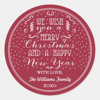 ¡Le deseamos Felices Navidad y una Feliz Año Pegatina Redonda