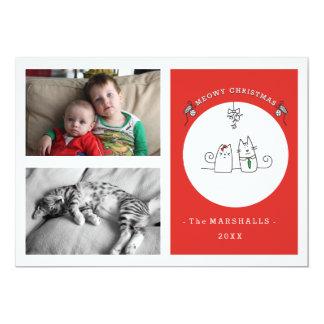 Le deseamos una foto del navidad de Meowy tarjeta Invitación 12,7 X 17,8 Cm