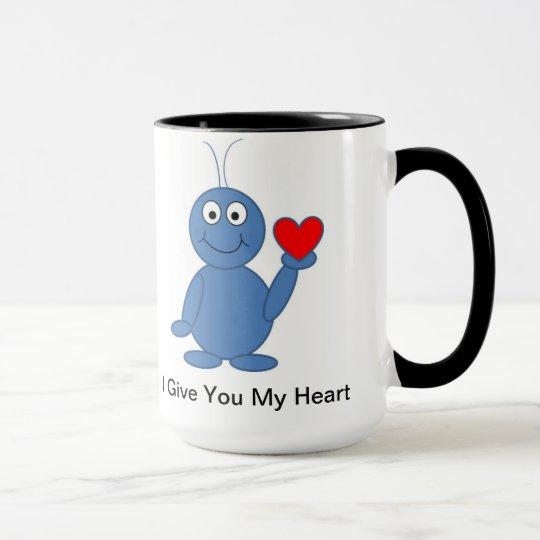 Le doy mi taza de café del corazón