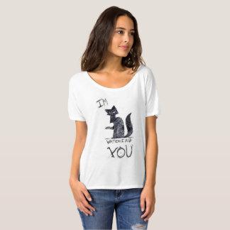 """""""Le estoy mirando"""" camiseta espeluznante del gato."""