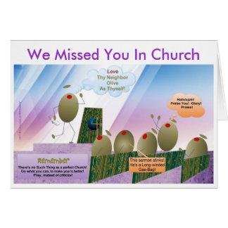 Le faltamos en tarjeta de la iglesia