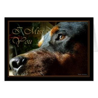Le falto perro que mira el soo lindo y triste tarjeta de felicitación