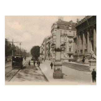 Le Havre Palais de Justice con las tranvías 1920 Postal