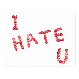 Le odio - escrito en corazones postal