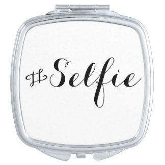 Espejos compactos con la frase selfie para llevar en el bolso