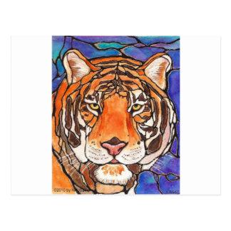 """¡""""Le Tigre"""" el arte del estilo del vitral del Postal"""