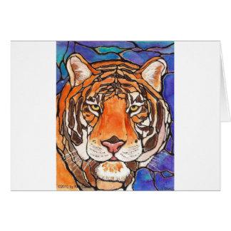 """¡""""Le Tigre"""" el arte del estilo del vitral del Tarjeta De Felicitación"""