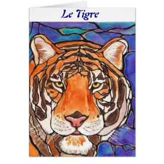¡ Le Tigre el arte del estilo del vitral del tigr Tarjetas